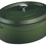 Litinový hrnec oválný 29cm - zelený