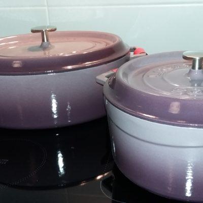 Litinový hrnec oválný 31cm- světle fialový