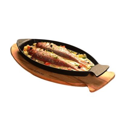 Litinová pánev ryba 15x24cm s dřevěným podstavcem
