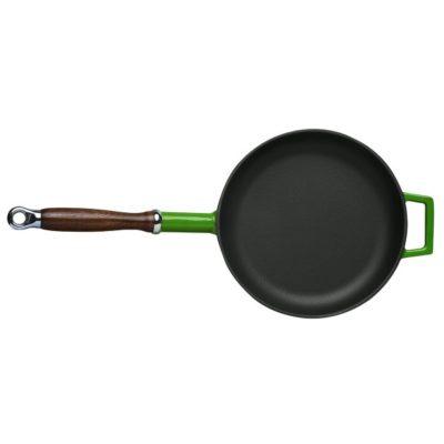 Litinová pánev s dřevěnou rukojetí 28cm - zelená