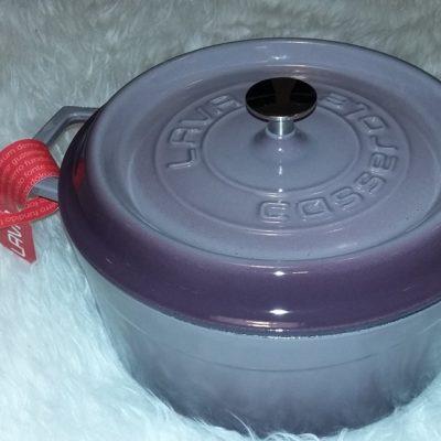 Litinový hrnec kulatý 24 cm - světle fialový