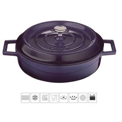 Litinový hrnec nízký kulatý 28 cm - světle fialový