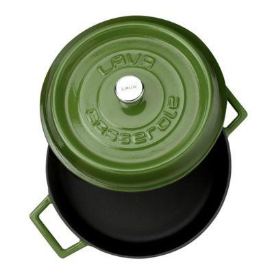 Litinový hrnec nízký kulatý 28 cm - zelený