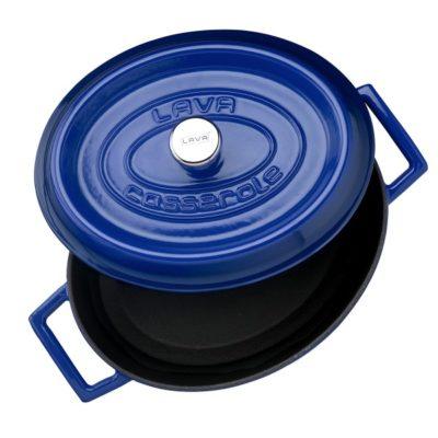Litinový hrnec oválný 31cm- modrý