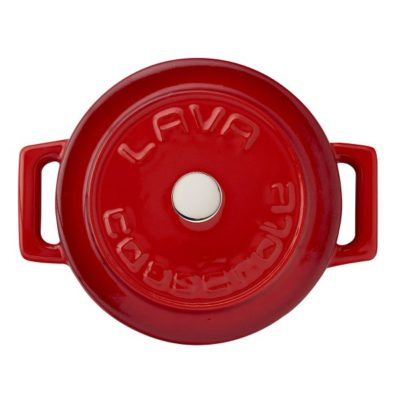 Litinový mini hrnec kulatý 10 cm - červený