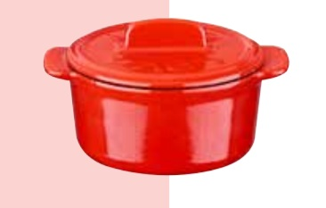 Litinový mini hrnec kulatý 9 cm - červený/bílý