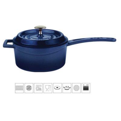 Litinový rendlík 16 cm - modrý