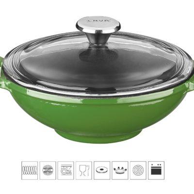 Litinový wok 16 cm - zelený